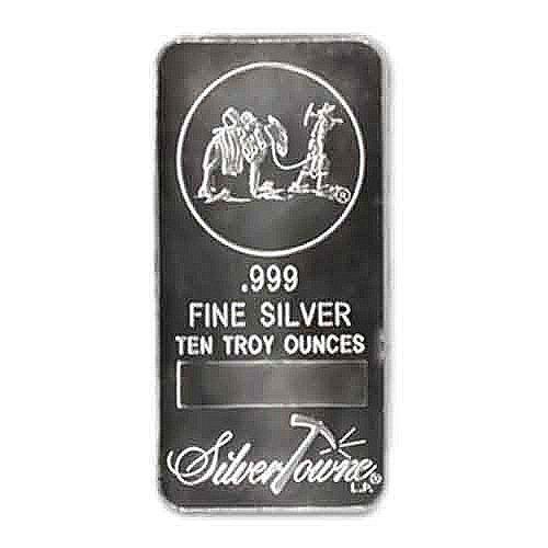 Silver Bars: Random Manufacturer 10 oz Bar .999 fine