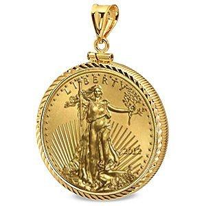 2012 1/2 oz Gold Eagle Pendant (Diamond-ScrewTop Bezel)
