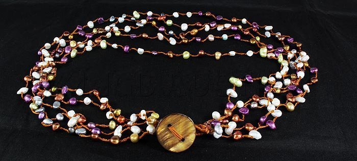 153.00CTW Multi Color Thread Freshwater Pearl Necklace