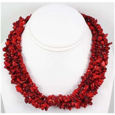 696.50ctw Red Coral Bead Twisted Necklace