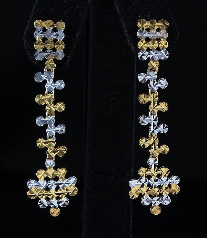 5.24g New Design Diamond Cut 2Tone Gold Plated Silver E