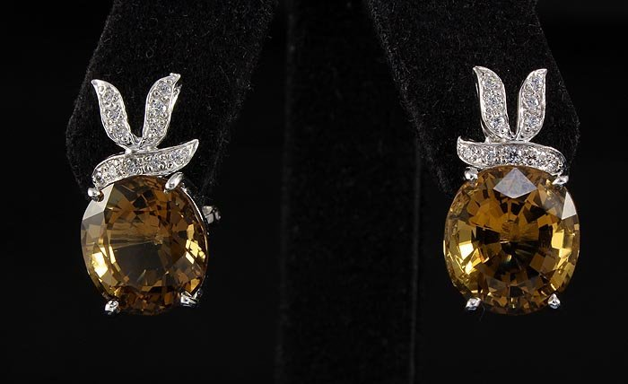 29.86ctw Fashion Sterling Silver Citrine Roval Earring