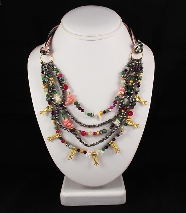 Semi Precious Gemstone Beads Handmade Organza Necklace