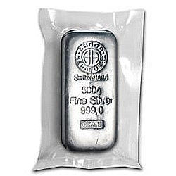 500 gram Heraeus Silver Bar (1/2 kilo, Poured)