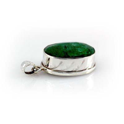 71ctw Lovely Emerald Set in Silver Pendant (19x26mm)