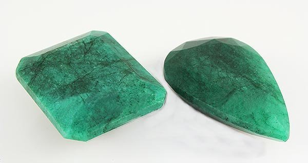 144.17ctw Faceted Loose Emerald Beryl Gemstone Lot of 2