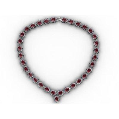 Garnet 46.2ctw Necklace 14kt White Gold