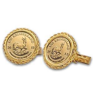 2012 1/10 oz Gold Krugerrand Cuff Links (Polished Rope)