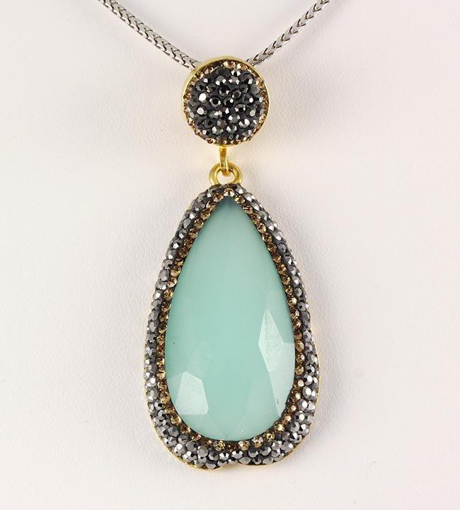Aqua Seafoam Mint Green Natural Stone Victorian Pendant