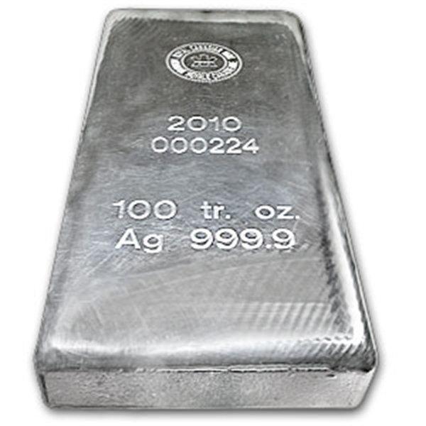 100 oz Royal Canadian Mint RCM .9999 Fine Silver Bar