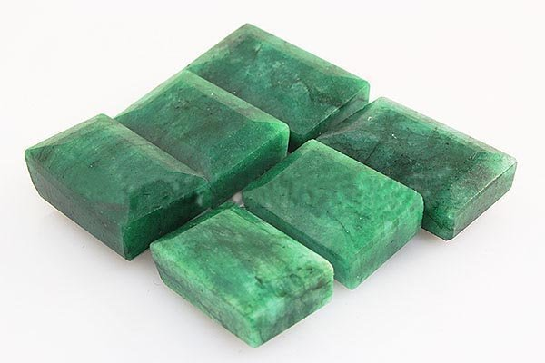 253.40ctw Faceted Loose Emerald Beryl Gemstone Lot of 6