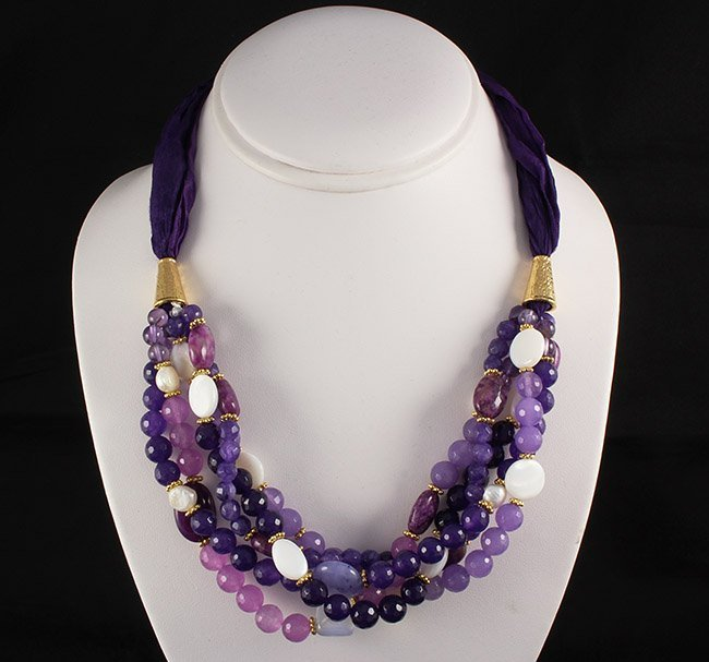 Various Semi Precious Gemstone Handmade Crafts Necklace