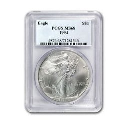 1994 1 oz Silver American Eagle MS-68 PCGS