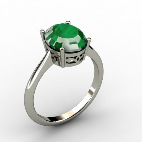 Emerald 2.60 ctw Ring 14kt White Gold