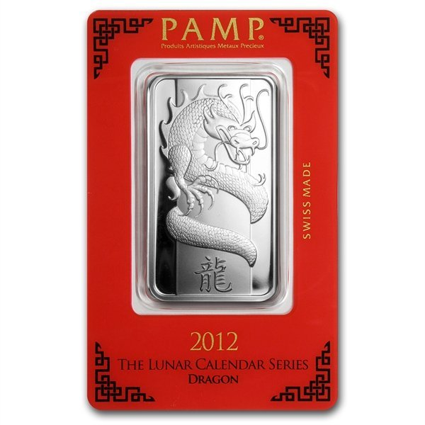 1 oz Pamp Suisse Silver Bar - Year of the Dragon (In As