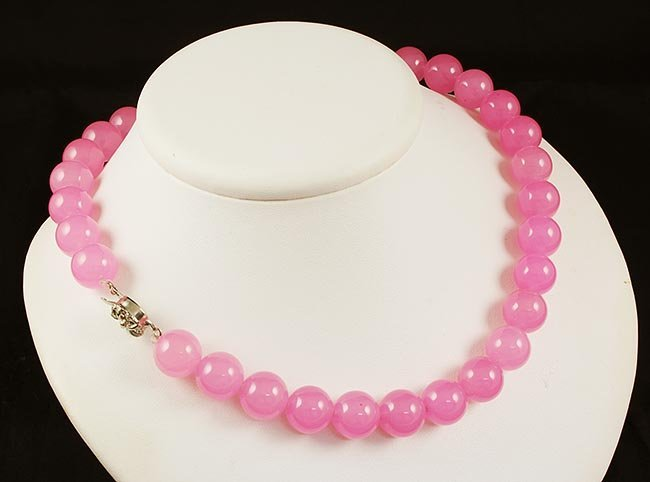 Handknotted Baby Pink Jade Necklace