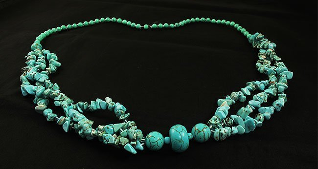 Gushing Sky Blue Turquoise 482.00ctw Beads Necklace