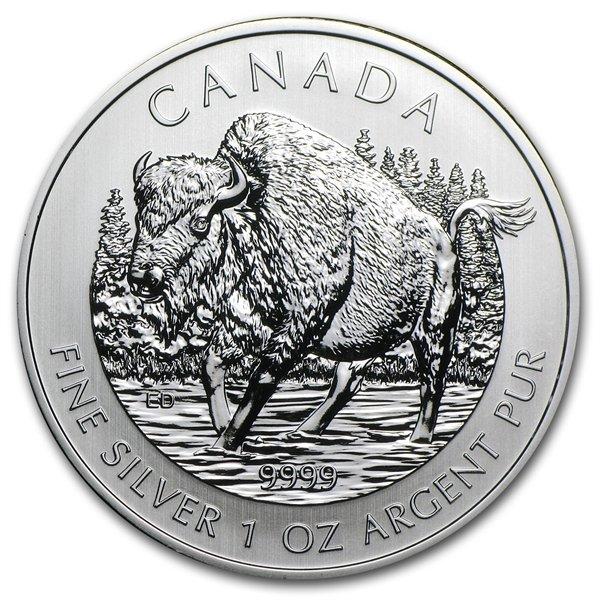 2013 1 oz Silver Canadian Wildlife Series - Wood Bison