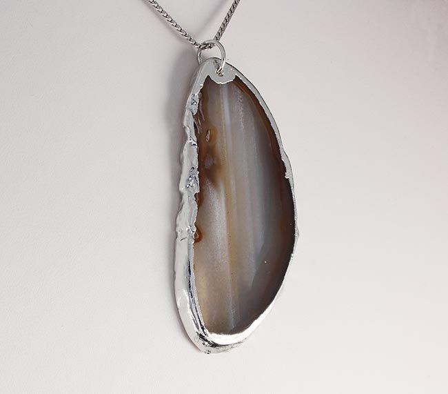 Natural Stone White & Brown Lace Agate Slice Pendant