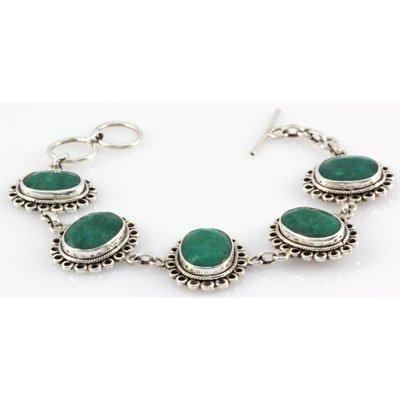 169ctw Toggle Clasp Silver Emerald Bracelet