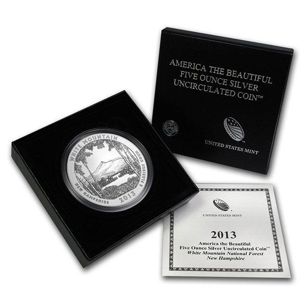 2013-P 5 oz Silver ATB - White Mountain (W/Box & Coa)