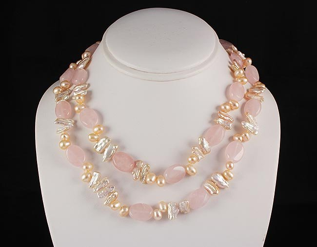 Rose Quartz Natural Stone Handknotted Necklace