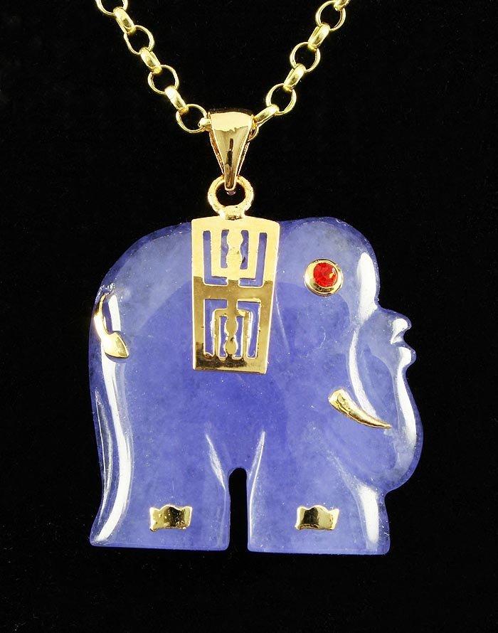 29.12CTW PURPLE JADE ELEPHANT GOLD PLATED PENDANT