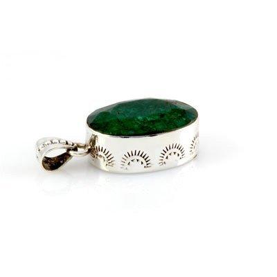 67.5ctw Artistic Design Silver Emerald Pendant (18x30mm