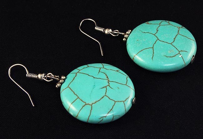 NATURAL 67.60CTW TURQUOISE DANGLING SILVER EARRING