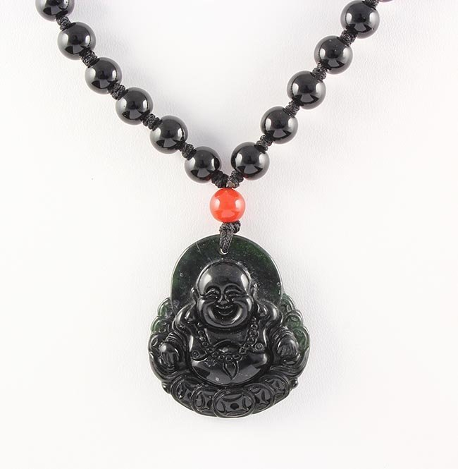 Jade Happy Buddha Necklace with Black Agate Beads