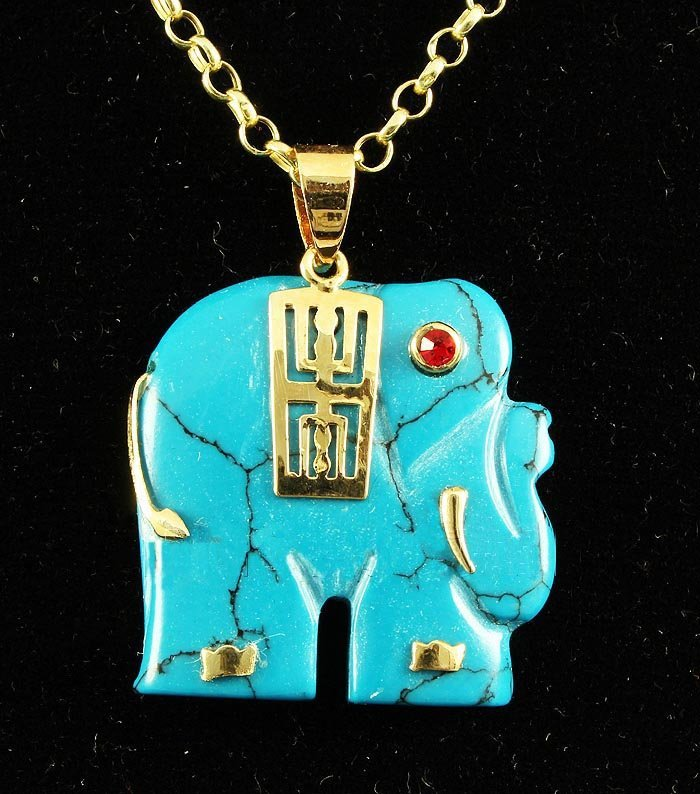 ELEPHANT TURQUOISE 26.15CTW SILVER GOLD PLATED PENDANT