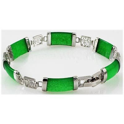 10.27g Apple Green Jade Sterling Silver Bracelet