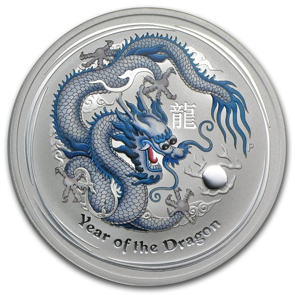 2012 1 oz Silver Year of the Dragon White Colorized Coi
