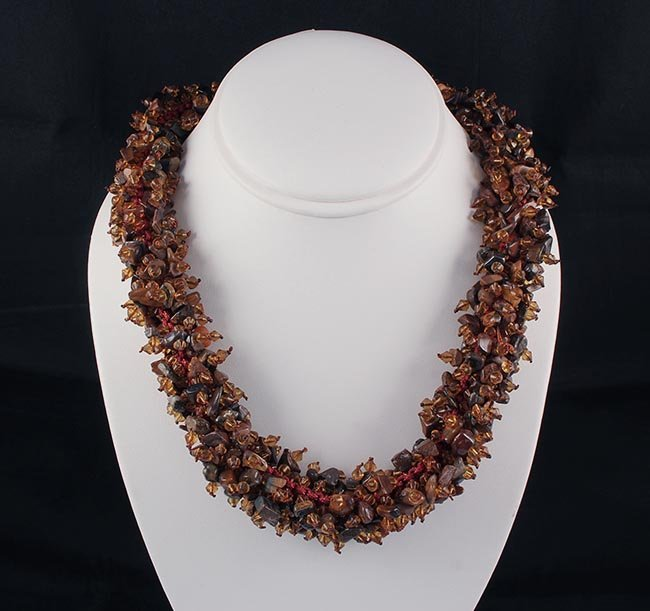 Chrocheted Wrap Necklace with Beads & Gemstone
