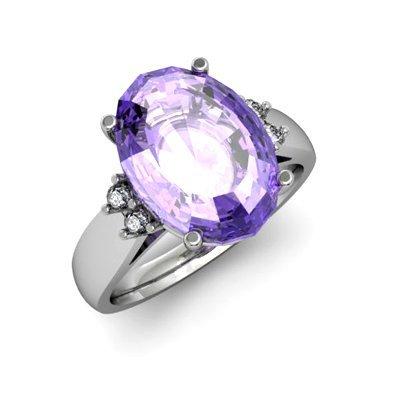 Tanzanite 6.80 ctw & Diamond Ring 14kt White Gold