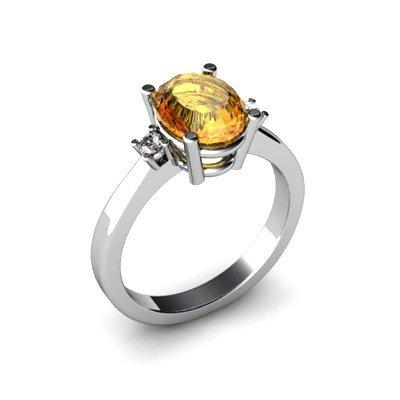 Citrine 1.75 ctw Diamond Ring 14kt White Gold
