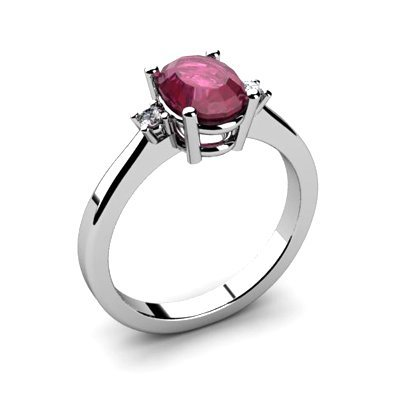 Ruby 1.55 ctw Diamond Ring 14kt White Gold