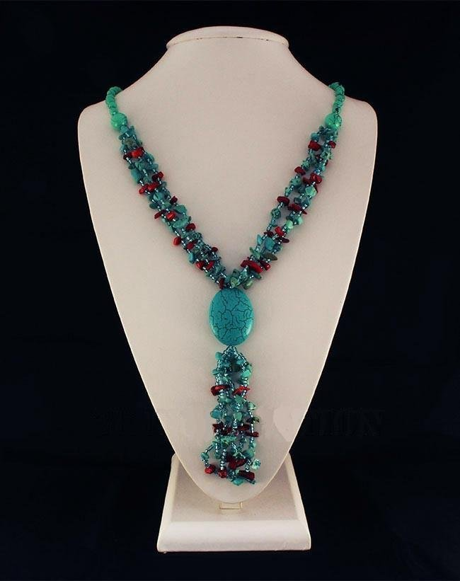 Gushing Sky Blue Turquoise 408.00ctw Beads Necklace