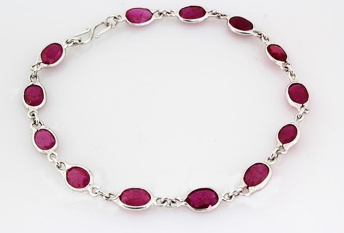 13.78CT Ruby Gemstone in Silver Bezel Bracelet 2.18g