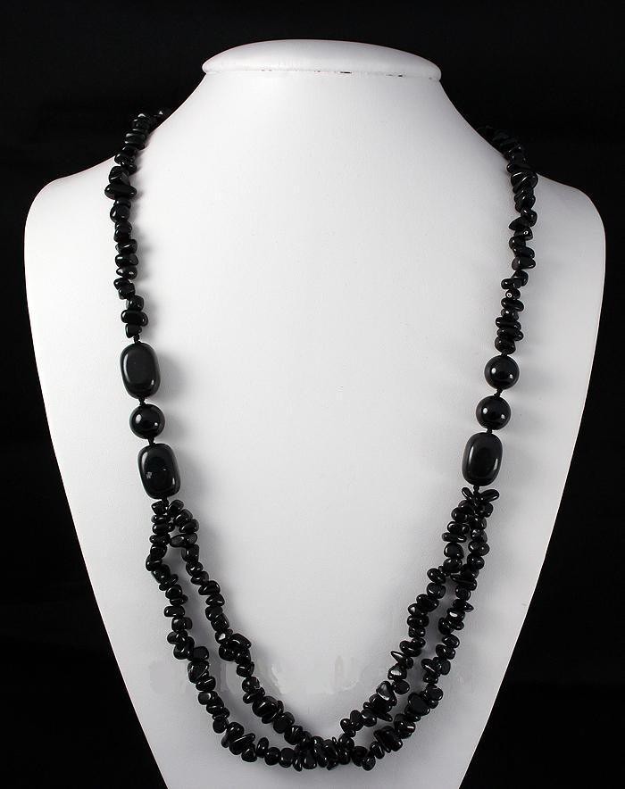 Chunky 433.46ctw Black Onyx Beads Necklace