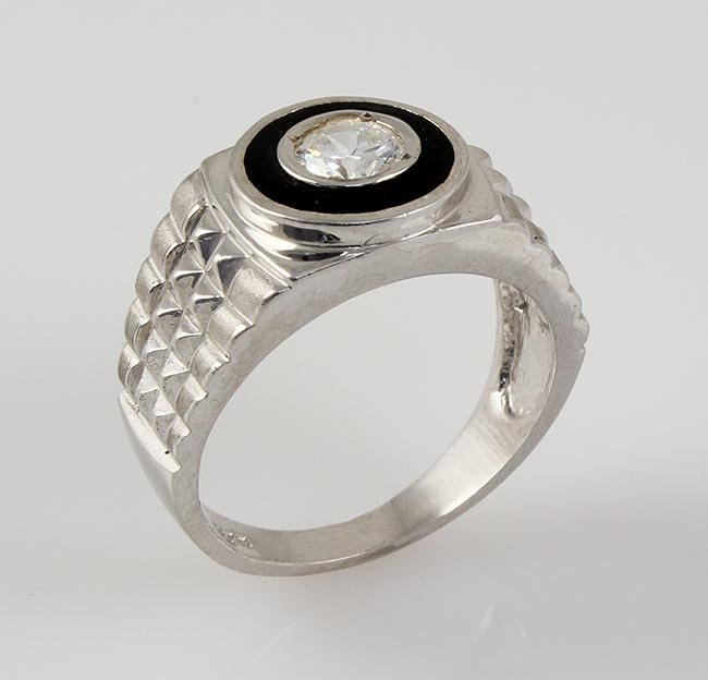 .925 Sterling Silver Men's Ring Cubic Zirconian RS8,5.3