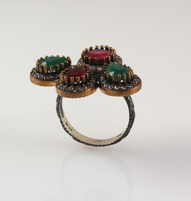Natural Stone Cocktail Victorian Design Ring