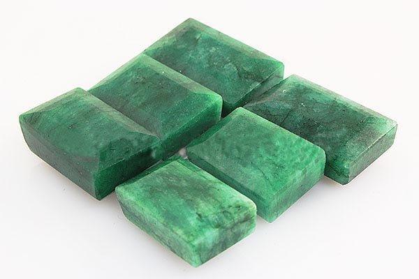 253.40ctw Faceted Loose Emerald Beryl Gemstone Lot of 6