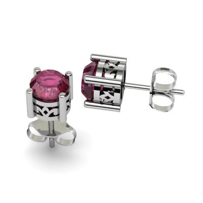 Ruby 1.30ctw Earring 14kt White Gold