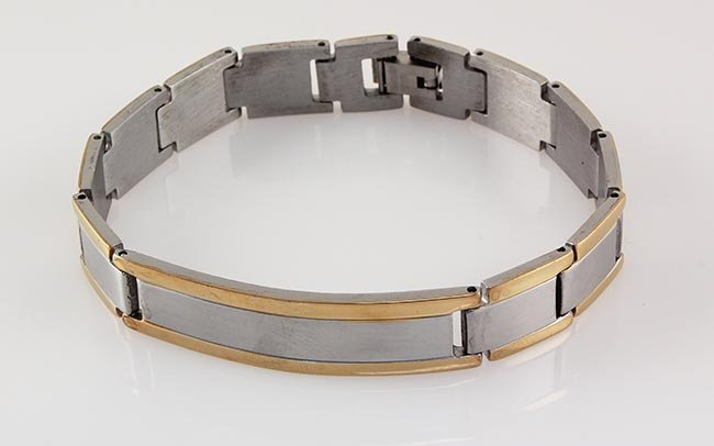 "Men's Stainless Electroplated Bracelet 8 3/4"" with Gold"