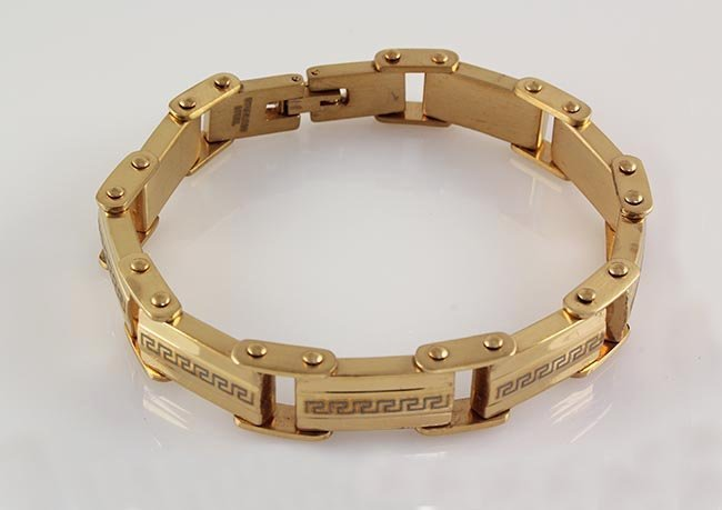 Men's Electroplated Link Gold Bracelet 8 3/4""