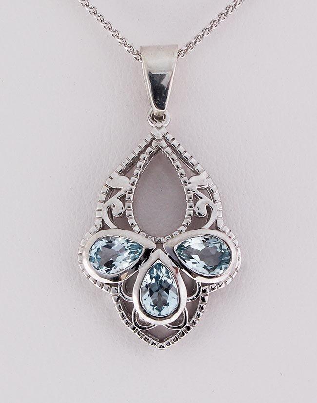 Fashion Jewelry Sterling Silver Aquamarine Pendant