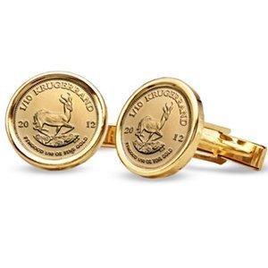2012 1/10 oz Gold Krugerrands Cuff Links (Polished Plai