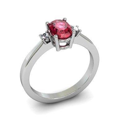 Garnet 1.00 ctw Diamond Ring 14kt White Gold
