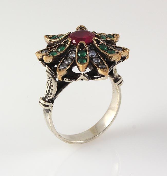 Natural Stone Statement Victorian Design Ring